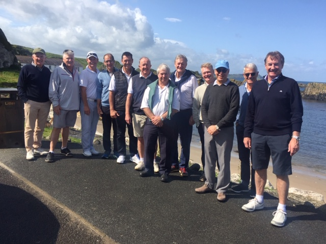 Golf-trip-Sorrento-group-Ireland at ballintoy harbour - photo of group
