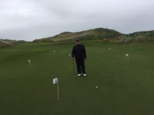 Putting practice before round at Royal County Down Golf Course