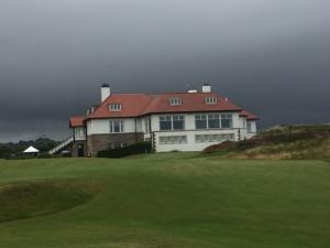 Royal County Down Golf Clubhouse - dark skies overhead