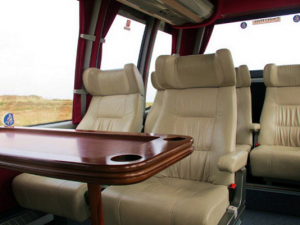 Golf Tour fleet buses - interior of one of buses used by RC Golf Escapes