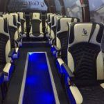 Inside of Tour bus with lights - one of the RC Golf Escapes Tour bus fleet