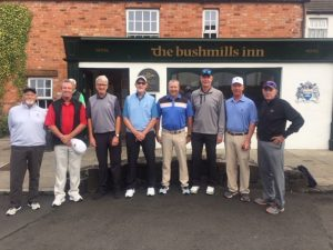 Golf Trips Ireland - Northern tour - photo of Camden group in front of Bushmills Inn
